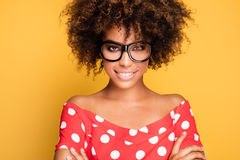 Portrait of young girl with afro. Stock Photography