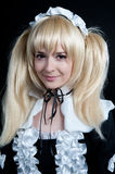 Portrait of young girl in anime lolita suit Stock Images