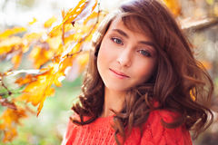 Portrait of young girl in the autumn forest Stock Image