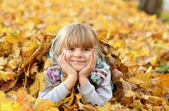 Portrait of a young girl in the autumn season stock photo