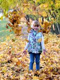 Portrait of a young girl in the autumn season royalty free stock images