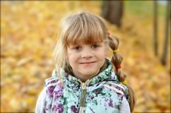 Portrait of a young girl in the autumn season royalty free stock photography