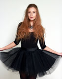Portrait of a young girl ballerina in a black dress Royalty Free Stock Photos