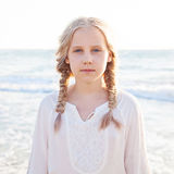 Portrait of Young Girl on the Beach Stock Image
