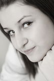 Portrait of the young girl. Black and white Stock Images