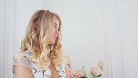 Portrait of a young girl blonde stock video