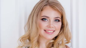 Portrait of a young girl blonde stock footage