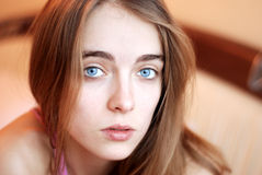 Portrait of a young girl with blue eyes Stock Image