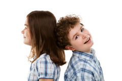 Portrait of young girl and boy. Isolated on white background Royalty Free Stock Image