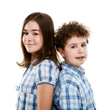 Portrait of young girl and boy. Isolated on white background Stock Image
