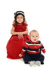 Portrait of Young Girl and Boy. Portrait of Hispanic girl and boy isolated over white background Royalty Free Stock Images
