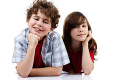 Portrait of young girl and boy Royalty Free Stock Image