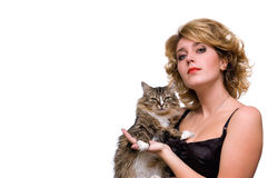 Portrait of young girl with cat Royalty Free Stock Photography