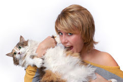 Portrait of young girl with cat Royalty Free Stock Image