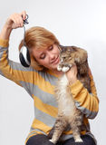 Portrait of young girl with cat Stock Photography