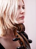 Portrait of young girl with a cello Stock Photography