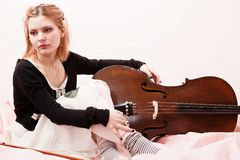 Portrait of young girl with a cello Royalty Free Stock Photography