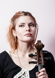 Portrait of young girl with a cello Royalty Free Stock Photos