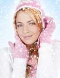 Portrait of young girl in Christmas clothes Royalty Free Stock Photos
