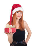 Portrait of young girl with christmas hat Stock Images