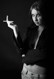 Portrait of young girl with a cigarette royalty free stock images