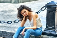 Portrait of a young girl in the city . royalty free stock photo
