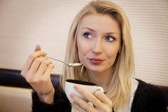 Portrait of young girl with coffee. Stock Image
