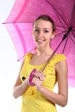 Portrait of the young girl with crimson umbrella Stock Photography