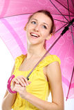 Portrait of the young girl with crimson umbrella Royalty Free Stock Photography