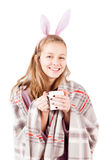 Portrait of young girl with cup of tea isolated Stock Image