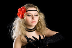 Young girl dancing expressive spanish dance Royalty Free Stock Images