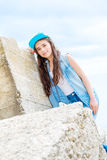 Portrait of a young girl in denim Royalty Free Stock Image
