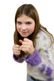 Portrait of the young girl with fists. On a white background royalty free stock images