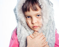 Portrait of young girl with furry hood Stock Image