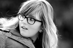 Portrait of a young girl with glasses Stock Images