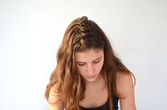 Hairstyle on medium length of hair stock image