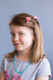 Portrait of young girl. Young happy smiling girl with flowers in her hair Royalty Free Stock Images
