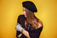 Portrait of young girl in hat. Stock Photography