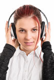 Portrait of a young girl with headphones on Stock Image