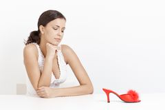 Portrait of young girl with high heel slippers Stock Photography