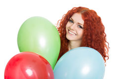 Portrait young girl holding colorful balloons. Stock Photography