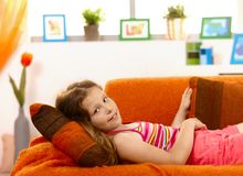Portrait of young girl at home Royalty Free Stock Photography