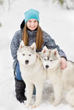 Portrait of a young girl with a husky puppies Stock Photography