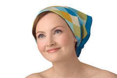 Portrait of young girl in kerchief. Stock Photos