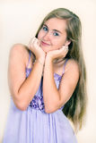 Portrait young girl in a lavender dress Royalty Free Stock Images