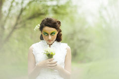 Portrait of a young girl lily of the valley Stock Photos