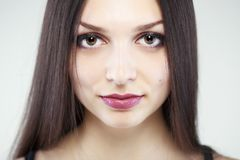 Brunette girl portrait. Portrait of young girl with long brunette hair Royalty Free Stock Photos
