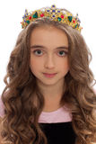 Portrait of a young girl with long hair in the crown royalty free stock photography