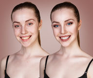 Portrait of young girl with and without makeup Royalty Free Stock Image