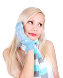 Portrait of young girl with mittens and scarf Stock Photography